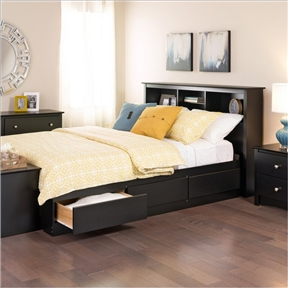This Twin XL Platform Bed with Bookcase Headboard & 3 Storage Drawers is a stylish centerpiece for any room. Both practical and attractive, this bed combines bookcase shelving and extra deep drawers for storage solutions that keep minimalist interiors neat and tidy. This streamlined look and added storage is possible because of the wood slat mattress support which replaces bulky traditional box springs. Enjoy the superior design that distributes your weight evenly for limited motion transfer. Experience the long term versatility of a black bedroom set, ideal for complementing a variety of decor choices, working seamlessly with your taste today and tomorrow. Ready to assemble; Manufacturer limited 5-year warranty; Note: Bed End Bench & Nightstands Sold Separately.