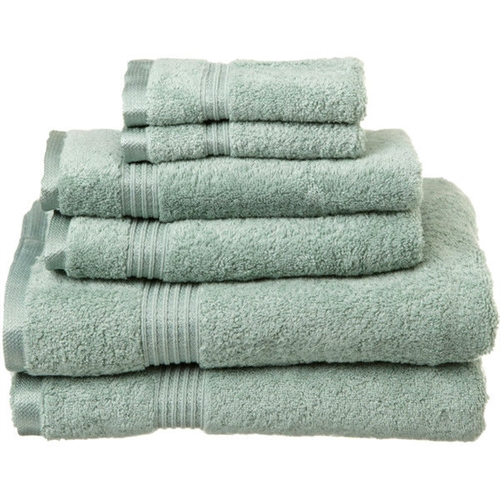 Sage Green 100% Egyptian Cotton 6-Piece Bath Towel Set , SG6B5198415 :  This Sage Green 100% Egyptian Cotton 6-Piece Bath Towel Set contains towels in different sizes. These are perfect for a couple, or a wedding gift as there are two of every size of towel. One-ply terry cloth; Pieces Included: 2 Bath towels, 2 Hand towels, 2 Face towels; Pattern: Solid; Recommended Cleaning Method: Machine wash; Pieces Included: 2 Bath towels, 2 Hand towels, 2 Face towels; Fabric Weight: 600 Grams per Square Meter (GSM) [Fabric Weight]; Country of Manufacture: China.