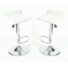 Hot, sleek and incredibly fashionable and fun, these Set of 2 - Modern Chrome Air Lift Swivel Bar Stool with White Seat are must have for the modern home. Set of 2 contemporary stools, air lift design for seat height of 24 to 30 Inch.