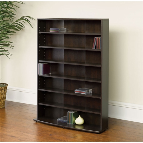 This multimedia rack bookcase bookshelf holds 280 DVDs or 426 CDs .Six shelves; four adjustable .Made in USA.This Product is of high Quality. Great for living room. Material: Manufactured wood
