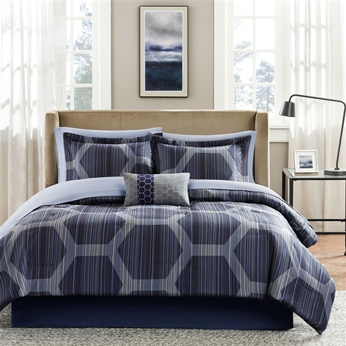 Add elegance to your decor with this Queen size 9-Piece Elegant Comforter Set with Dark Blue Hexagon Pattern. This beautiful set has a smooth finish and provides adequate warmth. It is a wonderful blend of style and function. The attractive comforter set includes one comforter, one bed skirt, one sham, one flat sheet, one fitted sheet, a pillowcase, and one pillow. Made from 85 GSM microfiber and featuring a 180 thread count, this comforter set is soft and durable. It has a dark blue color, with geometric designs, and will add a stylish touch to your bedroom decor. It is available in different sizes, letting you choose the right one for your bed. This set is a perfect addition to your home and also makes for a lovely housewarming gift. It is reversible, which adds to its functionality. This beautiful comforter set is a perfect addition for any home. This Queen size 9-Piece Elegant Comforter Set with Dark Blue Hexagon Pattern is easy to care for. It can be machine washed with cold water on a gentle cycle, and can be tumble dried. There is no need for bleaching or ironing with this comfort set. Country of Manufacture: China