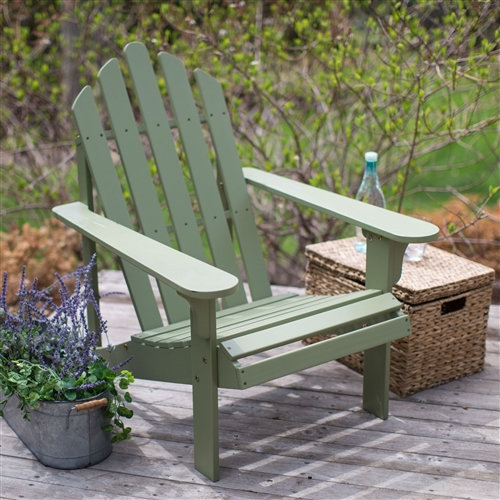 Sage Green Wood Adirondack Chair for Outdoor Patio Garden Deck, CPBSG6518 :  Enjoy a respite from the rest of the world with this Sage Green Wood Adirondack Chair for Outdoor Patio Garden Deck. Made with eco-friendly Acacia wood, this chair features a beautiful sage green painted finish that blends well with any outdoor decor. Its classic Adirondack design features a wide comfort back, deep angled seat, and wide arms for maximum comfort. Tour the boundaries of summer relaxation and let this chair be your guide. Chair dimensions: 28.3W x 35D x 36H inches. Seat height: 13.25 inches. Some assembly required; Warranty 1 Year.