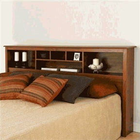 This King-size Storage Headboard in Cherry Wood Finish has 6 compartments, providing ample space for bedside reading materials, clocks, photographs and decorative accessories. It can be used with any King sized bed frame or is an ideal companion with Prepac's platform storage beds. This product is made from composite woods with an attractive MDF top and moldings. Product ships flat-packed and self-assembly is required. Detailed and easy-to-follow instructions are included. Coordinate with other Prepac bedroom furniture.
