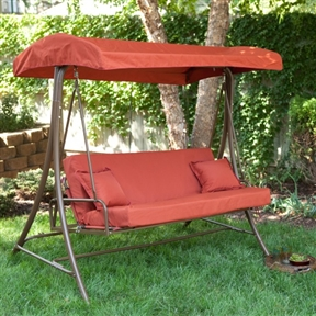 3-Person Outdoor Porch Swing Sofa Bed with Canopy in Terracotta, CTCS298415 :  When it's too hot to sleep indoors, you'll be glad you have this 3-Person Outdoor Porch Swing Sofa Bed with Canopy in Terracotta. This handy piece of garden or porch furniture serves as a swing, and it also folds down into a bed. It features a canopy and upholstery in a lovely terra cotta color, and its sturdy metal frame can support up to 550 pounds. Whether you want to swing away the evening on your porch or count stars at night, this versatile item can accommodate you, along with a friend or two. Expressive terra cotta upholstery; Seats three comfortably; Stylish, protective canopy.