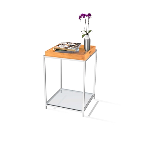 This Modern Metal End Table with Removable Bamboo Tray combines urban design and multi-function use. The Modern Metal End Table with Removable Bamboo Tray features a removable black tray that can be reversed to use as a flat surface, or as a serving tray. Clear tempered glass table top allows use of end table with, or without tray. Tray is not intended for direct contact with food; Will provide years of enjoyment.