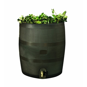 Round Rain Barrel with Built in Planter - 35 Gallon Capacity, RBSPM113 :  Embrace nature's solution to our Round Rain Barrel with Built in Planter - 35 Gallon Capacity. Our authentic oak barrel texture is molded into each barrel and will not fade, rot or risk insect infestation. The rts accents rain barrel has many unique features including a built in planter, linkable to other rain barrels for increased capacity, screen to keep out debris and insects, and a shut off valve for hose hook up with dual overflow. 35 gallon capacity, mud. Will not fade, rot or risk insect infestation.