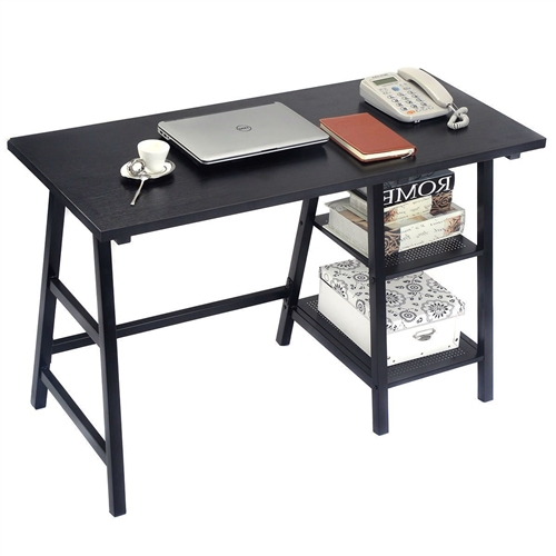 This Black Home Office Laptop Computer Desk Writing Table Features Heavy-Load Iron Frame & Durable MDF Boards, Which Provide A Very High Quality And Long Service Life. It Has A Simple, Elegant Modern Design, But Also Has Enough Storage Space For Things Such As Books. Now You Can Own It At A Great Price. Take It Home And Start Tapping On This Amazing Desk!