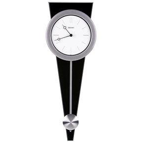 "Contemporary Wall Clock with Functional Pendulum Design, CPSWC75991 :  This Contemporary Wall Clock with Functional Pendulum Design would be a great addition to your home. A stylish clock that is sure to go with any contemporary styled room. The black finished wood contrasts beautifully with the silver bezel and pendulum. The crisp white dial features black bar hour markers and black hour and minute hands for an engaging minimalist impression. Satin finished silver-tone case on black solid wood base; Curved glass crystal; Two ""AA"" batteries included"
