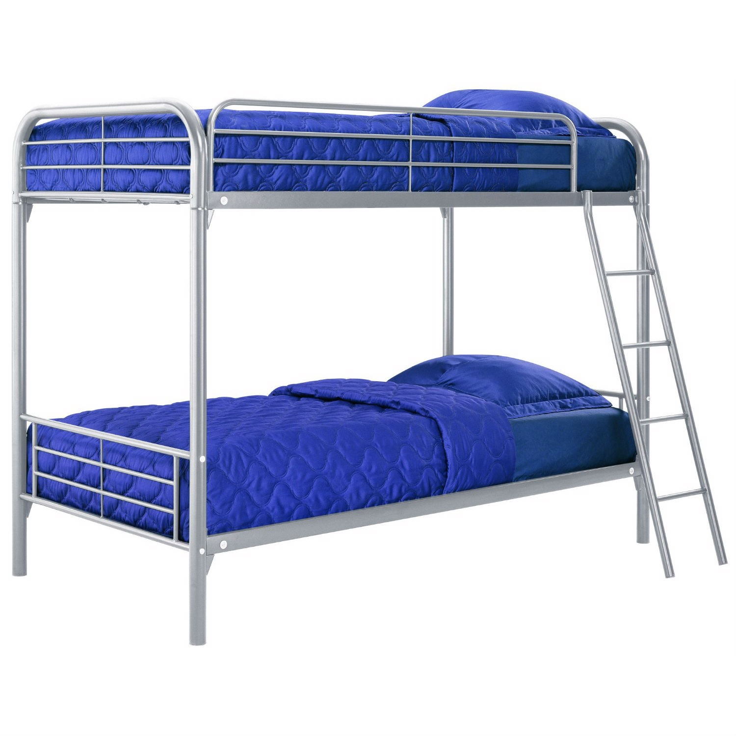 Twin over Twin size Silver Metal Bunk Bed: Product Code: DTOTBS14301 : This Twin over Twin size Silver Metal Bunk Bed is a space saver for multi-child rooms and great for sleepovers. It features two twin beds placed one above the other. Designed to maximize space - accommodates 2 standard twin mattresses; Full length guardrails for upper bunk for added safety; Mattresses sold separately; Some assembly required.
