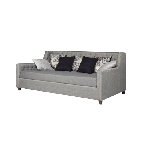 Infuse some character into your room with this contemporary chic design. Upholstered in gray linen fabric with generous diamond tufted detailing, this Twin size Grey Linen Upholstered Day Bed with Tufted Detailing and Wood Legs is sure to be the focal point of your living room, guest room or office. Constructed with a high back and solid frame, the Twin size Grey Linen Upholstered Day with Tufted Detailing and Wood Legs is a cushiony and sturdy bed fit for lounging or sleeping. The daybed supports multiple wooden slats for better support and durability. Your guests will appreciate your hospitality and thank you for catching sizes on this stylish daybed.