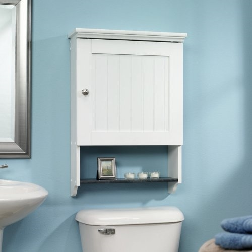 Bathroom Wall Cabinet in White Wood Finish with Bottom Storage Display Shelf, SWC586181 :  This Bathroom Wall Cabinet in White Wood Finish with Bottom Storage Display Shelf adjustable shelf behind frame and panel door with bead board insert. Reversible door opens left or right. Lower shelf features faux slate finish. Soft White finish with Slate finish accent.
