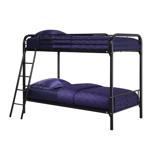 Simple, sleek, secure, stable and space-saving, this Twin over Twin size Black Metal Bunk Bed Frame with Ladder meets all your needs and expectations. Easy to assemble, the bunk bed has been designed for the utmost safety, providing full-length guardrails and a ladder that attaches to the frame. Accommodating two twin mattresses, the black metal frame will last through years of rough play, whether hosting twins, friends, family or siblings.
