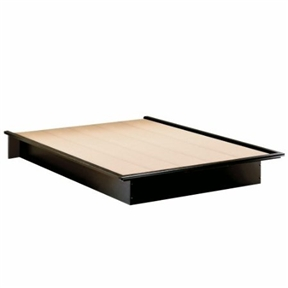 This Full-size Contemporary Platform Bed in Black Finish is designed to provide many options. The pieces can be used to create a fabulous bedroom or a cutting-edge living room entertainment system. Its centerpiece, a sleek, modern platform bed, features rounded corners for safety and decorative molding for unique flair. Its laminate finish looks sleek and is easy to clean. Crafted of engineered composite wood panels that carry the Forest Stewardship Council (FSC) certification, the bed is designed for durability and eco-friendliness. It is covered by a 5-year warranty on parts and materials. Some easy assembly is required on arrival. Overall, the full-sized bed measures 54 inches wide by 75 inches long by 10 inches high. Mattress and accessories not included.