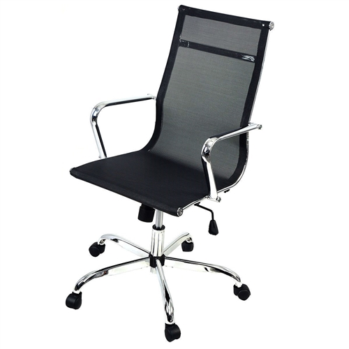 This Modern Classic High-Back Black Mesh Office Chair would be a great addition to your home. It has a solid construction and a large load capacity. Solid Construction Large Load Capacity; Comfortable Arm Rests; 360 Degree Swivel Wheel And Chair Can Run Smoothly On Floor; Height Adjusted By Pneumatic Gas Lift; Adjustable Seat Height For Best And Comfortable Sitting Posture; Load Capacity: 264 LBS; Tested For: 264-330lbs. Dynamic State.