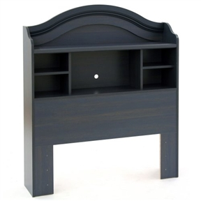 This Twin size Arch Top Bookcase Headboard in Dark Blueberry Finish features plenty of storage space to highlight bedroom decor. It is part of a coordinating bedroom set in Blueberry, but it also coordinates with the Natural Maple and Pure White collections from South Shore. The headboard features five open storage cases and one full-length shelf. It also includes an oversized decorative molding and rounded shapes to coordinate with other pieces in the complete set. A wiring hole for an alarm clock or radio adds utility. Crafted of engineered wood panels entirely made from recovered and recycled material, the headboard is designed for durability and eco-friendliness. Features 5 open cases and 1 full-length shelf; Wiring hole for an alarm clock or radio.