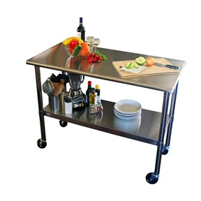 This 2ft x 4ft Stainless Steel Top Kitchen Prep Table with Locking Casters Wheels is great for your indoor, outdoor, kitchen, or garage needs. This table is built with a fully adjustable bottom shelf to store anything you need. It also comes with wheels that make this the perfect mobile unit. Base Finish: Stainless steel; Counter Finish: Stainless Steel; Hardware Finish: Stainless Steel; Base Material: Stainless steel; Counter Material: Stainless steel; Hardware Material: Stainless steel. Weight Capacity: 300lbs. Shelf Weight Capacity: 150lbs. Commercial Use: Yes; Eco-Friendly: Yes; Product Care: Clean with stainless steel cleaner, and wipe along the grain. Country of Manufacture: China. Assembly Required: Yes; Product Warranty: 1 year; ISTA 3A Certified: Yes.