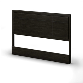 This Queen size Contemporary Headboard in Ebony Wood Finish has decorative grooves that increase its refined character and add to its contemporary style. It is designed for queen 60-inch beds and is compatible with a metal frame. Fits perfectly with the gravity queen platform bed. It measure 62.25-inch wide by 4-inch deep by 44-inch high. It is delivered in a box measuring 68.75-inch by 21-inch by 3-inch and weighing 53-pound. Accessories not included. Manufactured from certified environmentally preferred laminated particle panels.