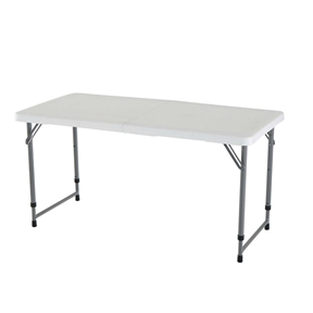 Lifetime 4-Foot Light Commercial Fold-In-Half Adjustable Table - Features a 48-Inch x 24-Inch molded tabletop (white granite) with a round folding frame (gray). This table has three adjustable height settings (22-Inch, 29-Inch and 36-Inch) and comes with a 2-year limited warranty. No matter where your hobbies take you, the Lifetime 4 ft Adjustable Fold-in-Half Table is the perfect companion. From crafty creations at home to painting in a natural outdoor setting, this portable craft table is ready to go where you go. The table is designed with three different height settings to accommodate your various needs and projects, and a stain-resistant surface so it's easy to clean. When you've finished your masterpiece, simply fold up your portable craft table and store it until your next burst of inspiration.