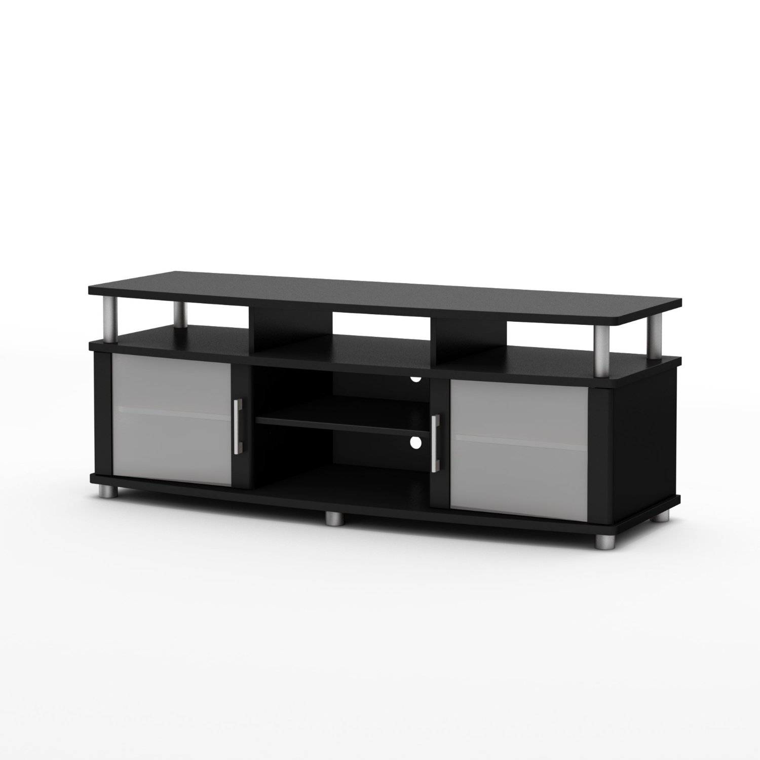 This Eco-Friendly TV Stand in Black Finish - Contemporary Style combines curved lines, metal accents and frosted glass for popular contemporary style. It is a perfect blend of form and function, featuring both open and closed storage options and a large surface perfect for TVs of 60-inch or less. The living room has never been so tidy and organized. Behind both doors and in the center, you will find 2 storage spaces divided by an adjustable shelf and under the top, 3 other open spaces. Its weight capacity is 150-pound. Also available in chocolate finish. The back surface is not finished and the accessories are not included.