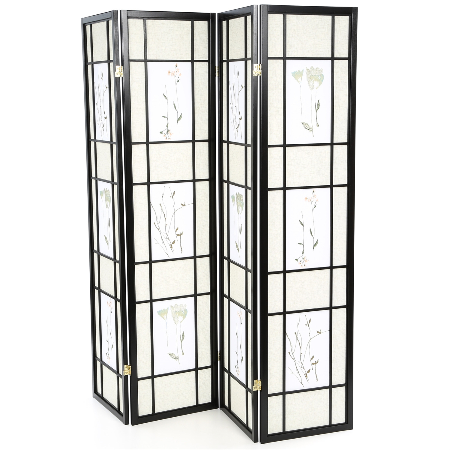 Black 4-Panel Room Divider Shoji Screen with Asian Floral Print, WFPRD9531 :  This Black 4-Panel Room Divider Shoji Screen with Asian Floral Print would be a great addition to your home. It has a black finish and floral print. Product Type: Folding; Style: Asian/Shoji; Theme: Asian; Primary Material: Cotton; Country of Manufacture: Malaysia.