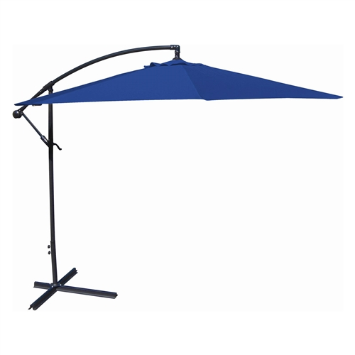 10-Ft Offset Cantilever Patio Umbrella with Royal Blue Canopy Shade, JMU5148465 :  Bring some shade to your patio with this 10-Ft Offset Cantilever Patio Umbrella with Royal Blue Canopy Shade. Crafted of spun polyester, this umbrella is a perfect for accenting or totally reinventing any outdoor space. The umbrella can be easily maintained with a mild soap and water mixture. Crank and tilt system for easy expansion of the canopy; Can be secured with pavers or bolted to a flat surface; Available in a variety of canopy colors; Commercial Grade No; Fabric Type Polyester; Lift Crank; Number of Ribs 8; Pole Material Steel; Rotation No; Tilt Auto; Umbrella Shape Octogon.