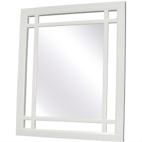 "The Neal Wall Mirror offers sleek lines for a modern look. This mirror is made of MDF and accented with grid-work design. This mirror comes with assembly hardware. Features: Finish: white Includes hardware Made of MDF Surface mount Specifications: Overall Dimensions: 24"" H x 20"" W x 1"" D."