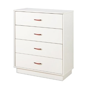 Featuring bold, clean lines and a lovely pure white finish, this White 4-Drawer Chest with interchangeable Handles lends a sense of modern organization to any bedroom, den, or guest room. The unit's durable engineered-wood construction stands up to everyday wear and tear, while its contemporary surface and platform-style base blend beautifully with any decor or color scheme. Equipped with interchangeable plastic handles that come with red and transparent inserts, the chest's four spacious drawers work great for storing folded clothing, blankets, games, and more, keeping items easily accessible yet hidden from view. Best of all, the chest's top rim curves gently into rounded, profiled corners that protect against injury, making it a smart and safe choice for children's bedrooms, playrooms, or guest rooms at Grandma's house. Pair the unit with a matching nightstand and other matching pieces from the Logik Collection to assemble a striking and functional complete bedroom set.