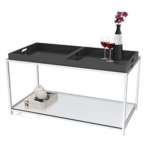 This Modern Metal Coffee Table with 2 Removable Trays in Black combines urban design and multi-function use. the palm beach coffee table features two removable white trays that can be reversed to use as a flat surface or as serving trays clear tempered glass table top allows use of coffee table with or without trays. Will provide years of enjoyment; Tray is not intended for direct contact with food.