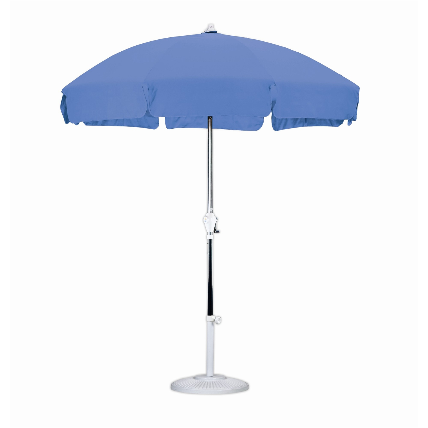 7.5 Foot Patio Umbrella with Push Button Tilt in Royal Blue Olefin, CU75P5799 :  The 7.5 Foot classic Patio style Umbrella is perfect way to shade yourself from the sun on your patio home or garden. Steel wire Ribs complete a perfect patio style canopy, and the simple Crank open aluminum frame make this vintage design easy to use, it even includes a Push button Tilt feature. Royal Blue Olefin Fabric color looks great in any space. Aluminum center pole; 8 Steel wire ribs; 7.5' Patio style canopy; Push button tilt; Easy open crank mechanism; Canopy Fabric: Olefin; Canopy Color: Royal Blue; Canopy Shap: Round.