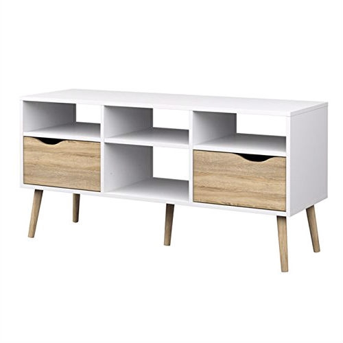 A perfect mix of modern and retro details, this Modern White Natural Oak TV Stand with Mid-Century Style Wood Legs offers a cool, eye-catching design with an abundance of storage and display option for all your audio/visual equipment and media. Able to support up to a 45-inch TV, this handsomely crafted stand is made entirely from sustainable wood in a two-tone finish of crisp white and rustic natural oak. Best of all, you'll never be short on ways to organize your items with this console's four open shelves and double pull-out drawers.