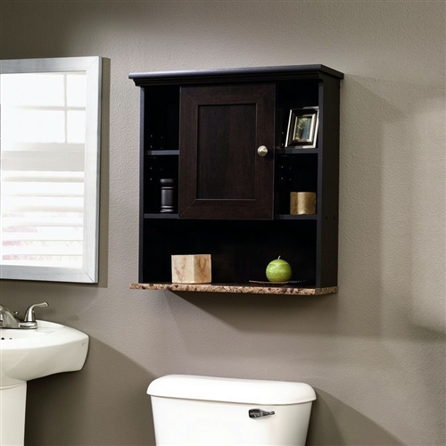Bathroom Wall Cabinet with 3 Adjustable Shelves in Cinnamon Cherry Wood Finish, CWBC6518 :  This Bathroom Wall Cabinet with 3 Adjustable Shelves in Cinnamon Cherry Wood Finish has a adjustable shelf behind frame and panel door. Cubbyhole storage features two adjustable shelves. Reversible door opens left or right. Lower shelf with faux granite finish features Ever Sheen top-coat which provides clear, durable finish that resists heat, stains and scratches.