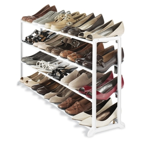 20 Pair Shoe Rack in White Resin, WR20PSR199 :  This 20 Pair Shoe Rack in White Resin is made with a durable white resin frame and requires no tools to assemble. It fits under most hanging clothes and is perfect in your home, office or dorm room. No-tool assembly