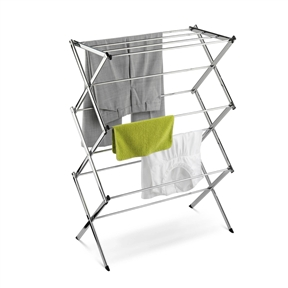 Commercial Clothes Drying Rack Laundry Dryer in Chrome, HCDCCDRC3047 :  A sleek and handsome version of a tried-and-true design, this Commercial Clothes Drying Rack Laundry Dryer in Chrome treats delicates better than the dryer does while reducing electricity consumption. Crafted from durable steel with a gleaming, rust-resistant chrome finish, the piece has an accordion construction that drops and locks into place. Hang-to-dry clothing, sweaters, lingerie, and household items can be draped on the horizontal rods, laid flat across the top, or hooked on the end supports. Overall, the piece offers 24 linear feet of drying space, while folding flat to a mere 3 inches for easy storage under a bed, in a closet, or next to the washing machine. Standing 42 inches high, the rack measures 30 by 15 inches. Other sizes and finishes are also available, and Honey-Can-Do provides a limited lifetime warranty on all its products. Folds flat to 3-inch width for storage; Design allow for clothes and household items to dry draped or laid flat.