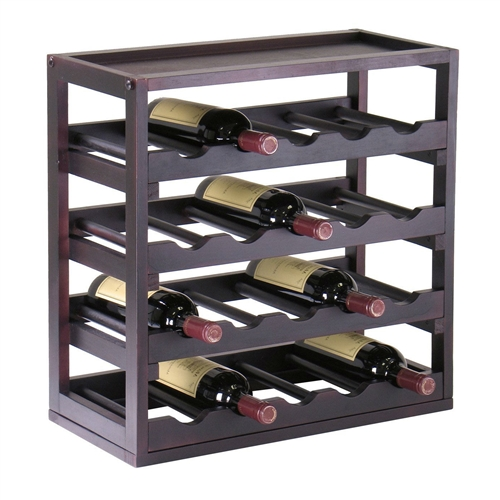 This 20-Bottle Wine Rack Stackable Modern Style in Espresso would be a great addition to your home. It has an espresso finish and a wood construction. Storage space; Espresso finish; Hardware Material: Metal; Style: Traditional; Design: Cube; Stackable; Bottle Size Compatibility (mL): 750; Commercial Use: No; Country of Manufacture: China.