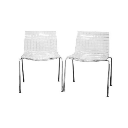 This Set of 2 Modern Dining Chairs with Clear Seat and Metal Legs draws its inspiration from the shape of a square. From the seat itself to the dozens of squares molded into the acrylic itself, it can be seen in nearly every inch of the design. The base is made of chrome-plated steel tubing and includes ball and socket feet in a black plastic. As a bonus, these chairs are stackable. They are sold in sets of two and require some assembly.