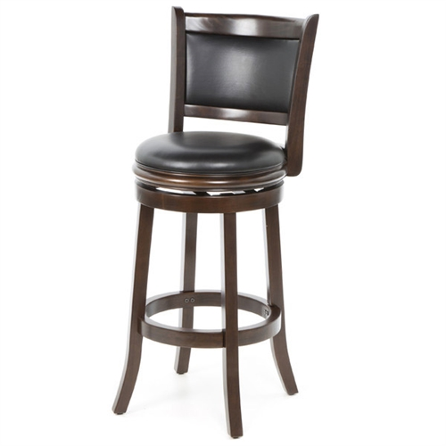 Accent your bar space with this classy and stylish 29-inch swivel bar stool. Its attractive and durable design is a perfect fit for all decor settings. It occupies less space and proves highly useful when you have guests at home.This stool has a solid hardwood construction that ensures it lasts for many years to come. The lustrous finish lends it a timeless look and adds to the appeal. It is fitted with a rich faux leather seat with high density foam to offer comfortable seating and enhance its appearance. It has flawlessly crafted French style legs with tempered bottoms. The steel ball bearings keeps it steady. The swivel ensures unrestricted movement. While the full ring footrest lends more strength and stability. The back support makes the seating experience more relaxed.The 29-inch bar stool has a weight capacity of 250lbs. Its seat height is 29''.