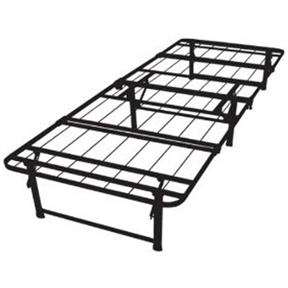 This Twin-size Duramatic Steel Folding Metal Platform Bed Frame is a heavy-duty steel wire mesh support, serves as a sturdy, squeak-free mattress support system that will not sag nor bend. The Durabed folds up neatly for easy storage and is lightweight for easy transport. Materials: Steel; Finish: Black. Can be used with or without a box spring foundation. Boasts six sturdy support legs to handle up to 1200 pounds of distributed weight; DuraBeds are strong enough to withstand jumping, yet light enough to be carried up the steps; Sleeps two adults very generously; Fits a standard twin-size mattress which is 75 inches wide x 39 inches deep; Once folded at 38 inches long x 21 inches wide x 6 inches thick.