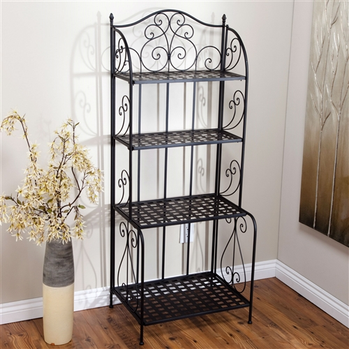 Indoors, outdoors -- wherever you want it, this Indoor / Outdoor Folding Metal Bakers Rack Plant Stand with 4 Shelves will be there. This durable etagere-style black metal baker's rack offers exceptional storage and convenience, folding for portability and storage. Shelf Material Metal; Style Traditional.