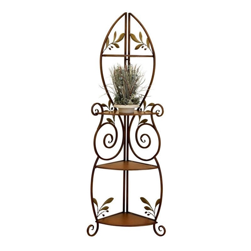 Add a decorative accent to any space with this Metal and Wood 3-Shelf Corner Bakers Rack with Floral Leaf Accents. This versatile shelf set features dramatic curves and floral features that brighten up any corner. It's made with a sturdy metal frame and features three wood shelves to display plants, decorative items, and more. Its brown frame and cherry finished wood shelves are a perfect complement to a variety of decor styles.