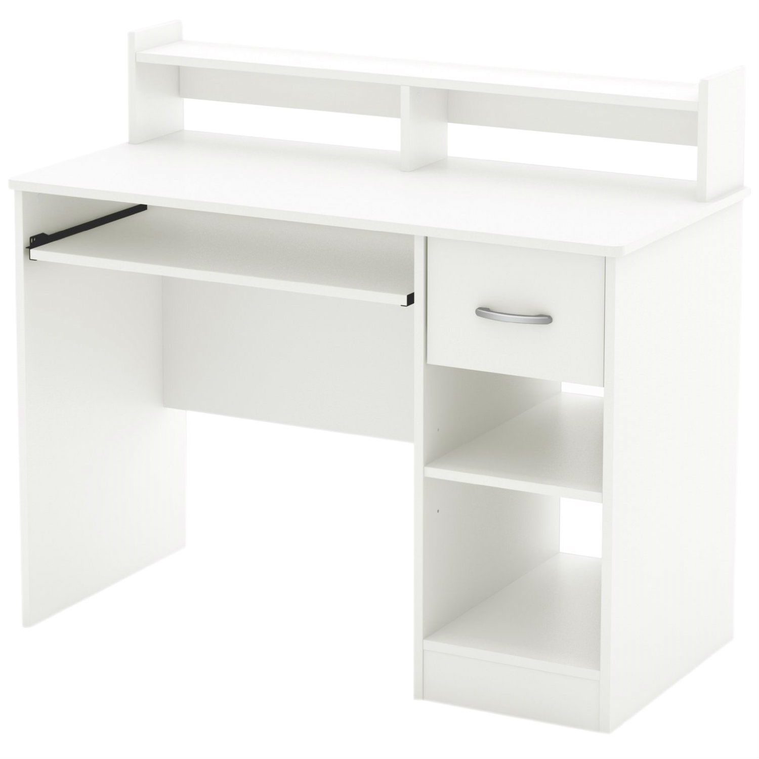 This Modern Computer Desk with Keyboard Tray in White Finish is the perfect answer to organizing clutter in your child's room. It features a compact design yet includes space for everything needed for schoolwork and projects. A low hutch offers shelving for books or keepsakes, and the desktop, plenty of room to spread out homework or a house laptop. Under it, you will find a keyboard tray, one practical drawer with a silver finish metal handles and a storage compartment divided by an adjustable shelf. for complete interior dimensions see spec sheet. Also available in Pure Back or Chocolate finish. The back is not laminated and the accessories are not included.