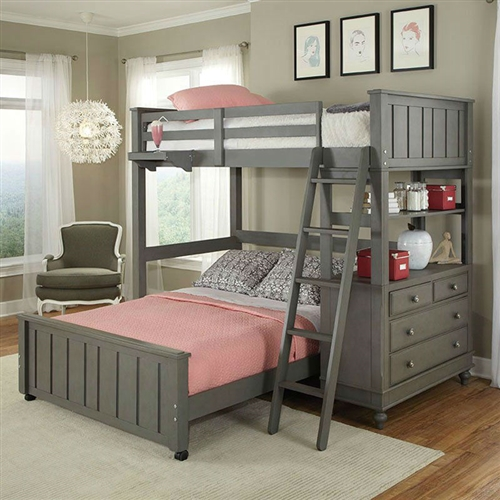 Twin over Full Bunk Bed Loft with Chest and Ladder in Stone Wood Finish: Product Code: LHTLB681841 : A stylish way to save space, this Twin over Full Bunk Bed Loft with Chest and Ladder in Stone Wood Finish is as versatile as it is comfortable. This friendly loft bed is handcrafted of solid Eastern US poplar and veneers and comes in select finish options. It has a comfortable cottage feel with bun feet and panel detailing. Smart extras include a movable ladder for easy access and a four-drawer chest that may be positioned at either end of the loft. This bed features a slat roll foundation so it requires no box spring. Make their bedroom complete by adding either the full size bed that fits underneath or the desktop. Select finish options; Slat roll foundation requires no box spring; 4-drawer chest offers ample storage; Desktop and full underbed sold separately; Assembly Required; Bed Finish White, Other Finishes; Bed Size Twin, Twin Loft Bed, Twin Over Full; Feature Desk Gender Neutral; Warranty Limited 1 Year Manufacturer Warranty; Wood Type Poplar Solids and Veneers.