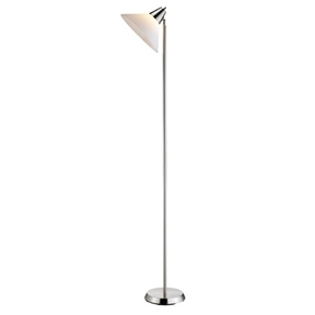 This Contemporary Swivel Floor Lamp with Bowl Shade in Satin Steel Finish would be a great addition to your home. The white acrylic shade adjusts vertically and horizontally. Takes one 72-watt medium base bulb (not included). 12-Inch diameter; Lamp dimensions are 71.5-Inch height; 10-Inch round base; Requires one 100-Watt E27-socket bulb or 26-Watt CFL bulb(bulb is not included); On off rotary switch on shade.