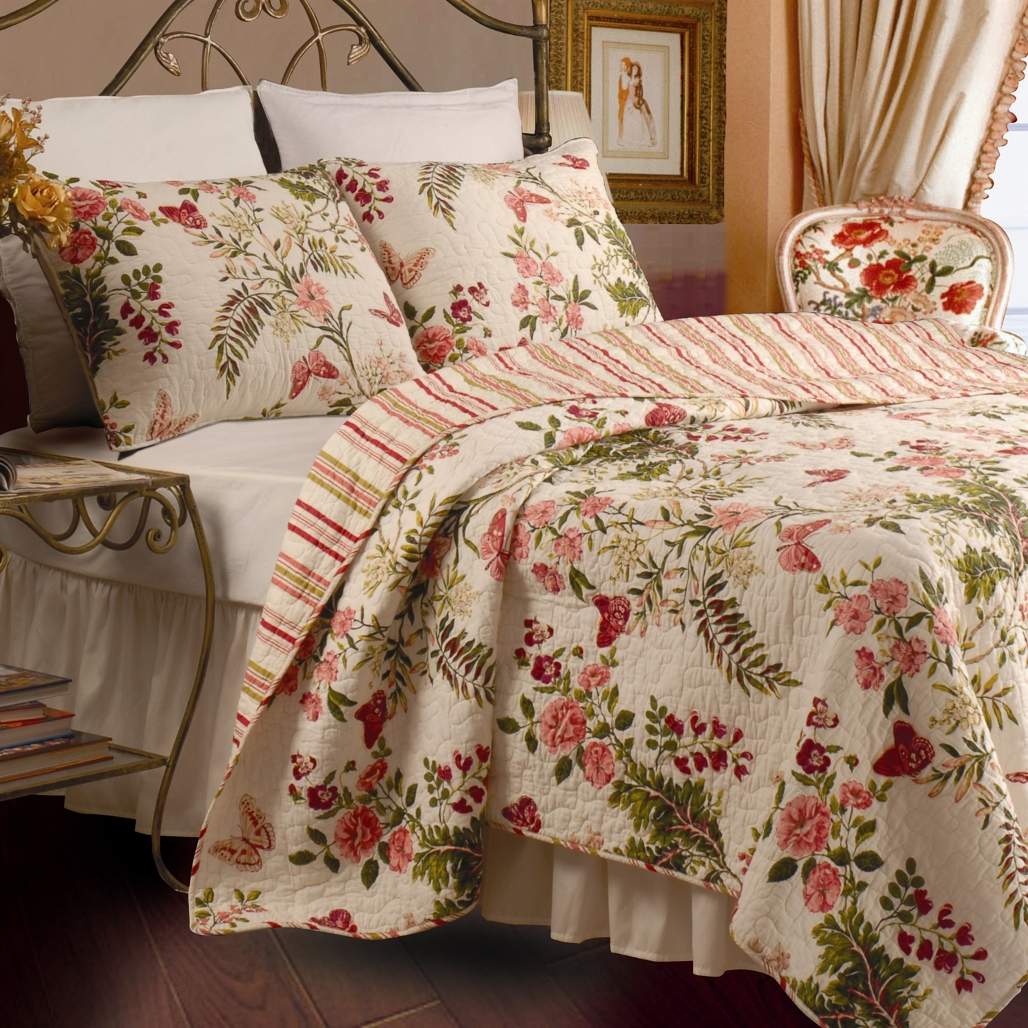 Full / Queen size Piece 100% Cotton Quilt Set Crimson Clover Floral: GQSFQ6371 : This Full / Queen size Piece 100% Cotton Quilt Set Crimson Clover Floral would be a great addition to your home. The quilt has a magnificent floral print that radiates with shades of crimson, pink, citronella and clover on a pale ivory back. Bring the outdoor into your bedroom; Intricate vermicelli quilting provides a rich surface texture; Reverses to a coordinating stripe; Oversized for better coverage; Machine washable; Full / Queen and King set includes 1 quilt and 2 standard shams; Twin set includes 1 quilt and 1 standard sham; Color: Multi; Product Type: Quilt/ Coverlet set.