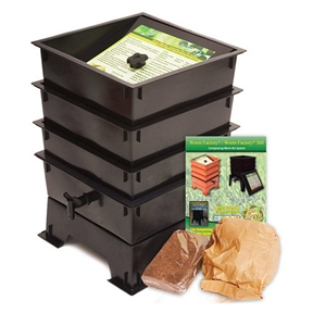 Black Plastic 3-Tray Worm Composting Bin Composter w/ Compost Tea Spigot, WFBC691561 :  This Black Plastic 3-Tray Worm Composting Bin Composter w/ Compost Tea Spigot is like a capsule hotel in Tokyo … except the guests are 6,000 worms and it goes in your backyard. Made from 100% recycled plastic, this composter allows worms to happily nosh 24/7 on your kitchen waste and whatnot, providing you rich organic material. Odorless, well-organized, green … and best of all, the worms will eat your junk mail. Or bills. Can house 6,000 worms (not included); Material: 100% Post-Consumer Recycled Plastic; Warranty: 5 Year Warranty.
