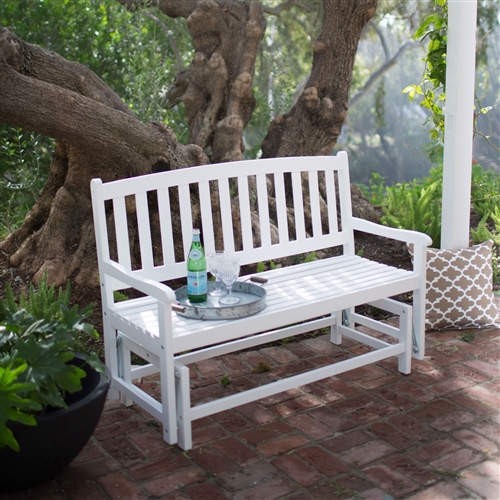 4-Ft Outdoor Patio Glider Chair Loveseat Bench in White Wood Finish, CBCGL551461 :  This 4-Ft Outdoor Patio Glider Chair Loveseat Bench in White Wood Finish provides seating for two with a charming country style. This handsome glider loveseat is constructed from solid acacia wood and is finished in a clean, bright white. The subtly contoured armrests and seat offers luxurious comfort, while the slatted back provides support and encourages airflow. The gliding mechanism is velvet smooth and whisper quiet, allowing for effortless motion. The piece is easily assembled. Curved back features a slatted design;  Frame Material Acacia Wood;  Style Classic, Bench; Weight Capacity (lbs.) 400.