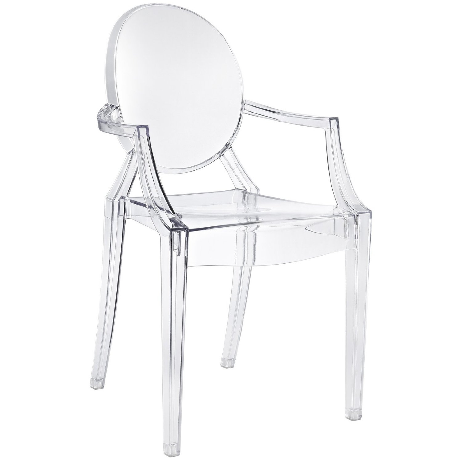 This Clear Acrylic Stacking Dining Chair - Modern Ghost Style is a comfortable transparent acrylic armchair in the Louis XV style.Representing the intersection of classic baroque style and innovative modern design, the Louis Ghost Chair is both enchanting and comfortable.The Louis Ghost Chair design was introduced in 2002, and has been recognized by many for its unique look and surprisingly indestructible design.The Louis Ghost Chair is stable and durable, shock, scratch and weather resistant.The Ghost chair's fluid, serene design allows it to be used for residential or commercial. Made of transparent acrylics, the chair is sturdy and durable even as it displays a delicate, ethereal appearance. This versatile side chair is suitable for indoor and outdoor use.