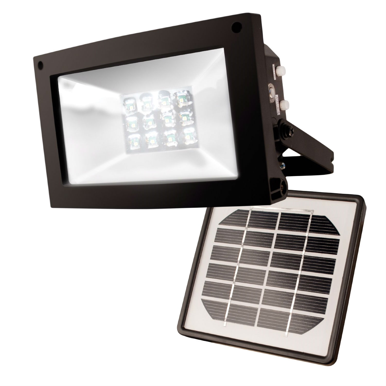 Solar Powered 10-Hour Flood Light - Automatically Turns On at Night, MSF37435 :  Need to light up a sign or flag at night? Maybe a shrubbery or statuary? No need to call an electrician. This Solar Powered 10-Hour Flood Light - Automatically Turns On at Night is the answer. The MAXSA Solar-Powered Floodlight has 12 super-bright LEDs that automatically turn on at dusk. Includes 3 rechargeable NiMH batteries, solar charging panel, and a 10-foot cable. Light stays bright for 5 hours at full power setting, or up to 10 hours in power-saving setting. Metal body. Black finish. Flag or post mount bracket included so the light may be attached directly to a post or flagpole. IP44 weatherproof rating. Add a floodlight with no wiring necessary; Uses free energy from the sun to charge the batteries.