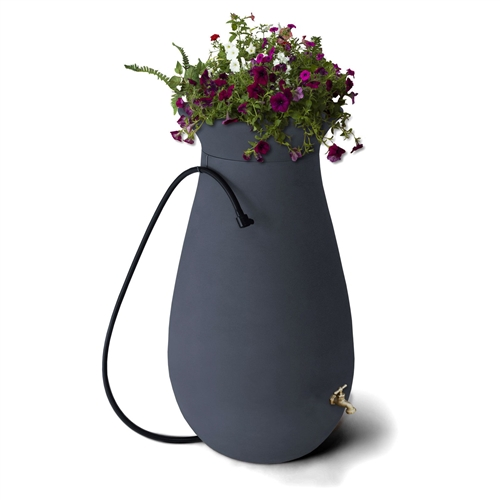 65-Gallon Roto Molded Plastic Resin Rain Barrel in Charcoal Stone Color, CSRB518981 :  Beautifully designed to give you the classic look of ceramic with the ease and durability of plastic, this 65-Gallon Roto Molded Plastic Resin Rain Barrel in Charcoal Stone Color is a lovely addition to your home. Save money and help conserve water with this rain barrel made out of roto molded plastic which is able to withstand harsh temperature changes and won't chip, fade, or crack. Available in your choice of color, this rain barrel has a double-walled design which adds to its strength and durability. A beautiful, high quality brass spigot adds to the elegance of this rain barrel. Collect water for your grass and flower gardens, as well as water for washing your car and keep your lawn and car looking great while also helping the environment. Feature Decorative; Gallon Capacity 65; Material Resin.
