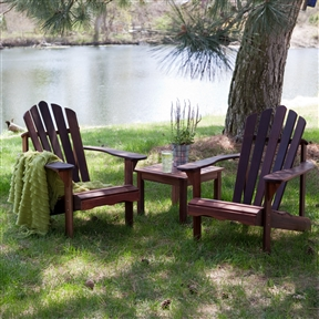 3-Piece Patio Furniture Set - 2 Adirondack Chairs and Side Table, BLA418654 :  This set of two comfortable and sturdy outdoor chairs is perfect for your lawn, patio, or vacation home. It comes with a free side table so you can relax in the beauty of the great outdoors with someone special and enjoy a couple of drinks or even food from your barbecue grill. The chairs and table are made with durable red shorea wood that resists insects and rot, so you can enjoy many an outdoor siesta together for years to come. Curved backrests and seats for ergonomic support; Naturally resistant to rot and insects; Rust-resistant zinc-plated stainless steel hardware; Style End Tables; Adirondack Surface Natural & Unfinished; Table Shape Square.