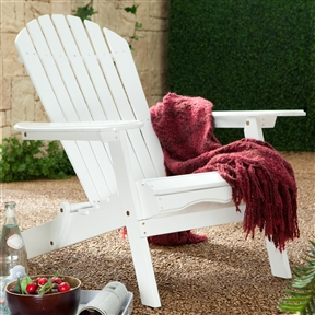 Folding Adirondack Chair in White Wood Finish, WFAC584841 :  Sit back, relax, and enjoy life on island time with this Folding Adirondack Chair in White Wood Finish. This chair is crafted from long-lasting, resilient acacia hardwood materials that allow it to stand up to the rigors of outdoor use and the elements. It is painted in your choice of red or white to blend in nicely with your existing outdoor furniture, and it has an ergonomically friendly design that is conducive to relaxation. Designed to fold flat when not in use, it stores easily without taking up a lot of room. Ergonomic with contoured back and seat; Surface Painted; Warranty 1 Year.